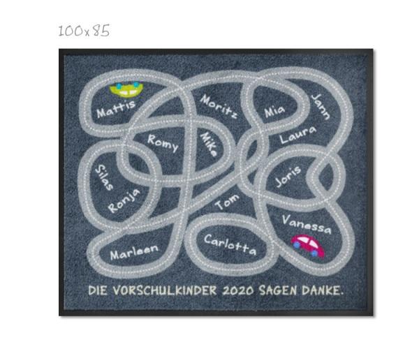 Kindergartenteppich Spielstrasse mit Namen 120x100cm-mit Trittrand