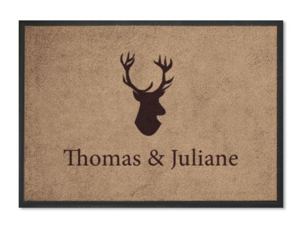 fu matte hirsch hausen personalisiert mit namen. Black Bedroom Furniture Sets. Home Design Ideas